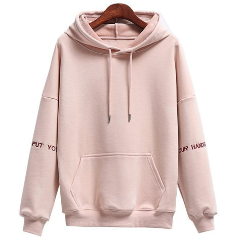 Casual Long Sleeve Hooded Neck Front Pockets Women Embroidery Sweatshirt Hoodies