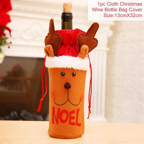 Merry Christmas Wine Cover For Home Decoration