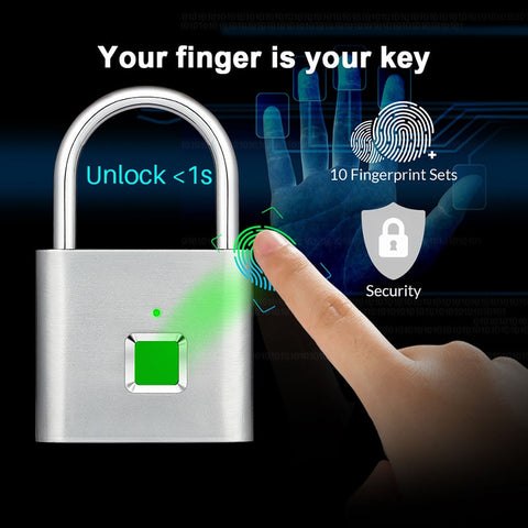 Black & Silver Portable Anti-Theft Fingerprint Smart Door Locks