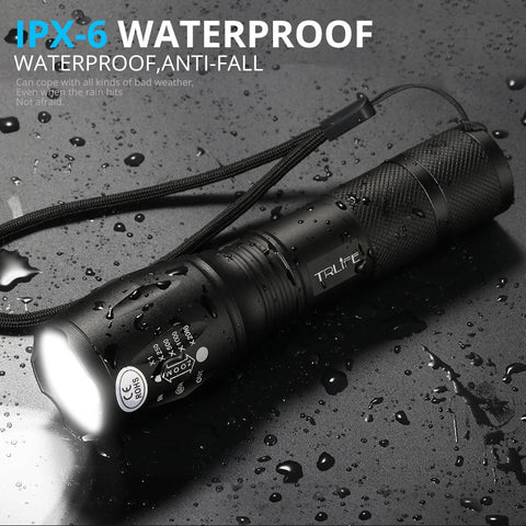 LED Rechargeable Waterproof Aluminum Tactical Camping Fishing Flashlight