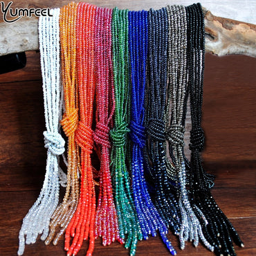 Women Handmade Crystal Tassel Glass Seed Beads Long Chain Necklace Pendants
