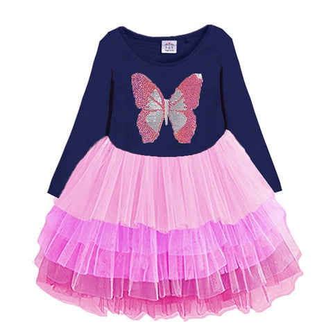 Unicorn Flower Print Long Sleeve O-Neck Girls Party Perform Sequins Dress