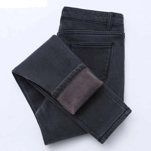 Winter High Waist Button Fly Women Pencil Jeans Pants