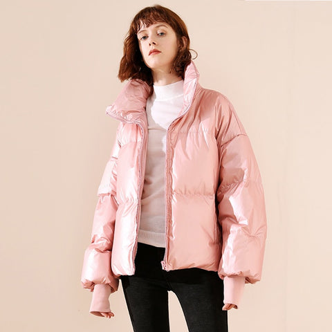 Casual Waterproof Stand Collar Cotton Padded Women Parka Jacket