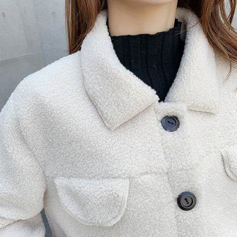 Winter Long Sleeve Notched Collar Single Breasted Women Warm Loose Jackets