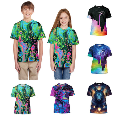 3D Print Short Sleeve O-Neck Kids Cotton T-Shirts