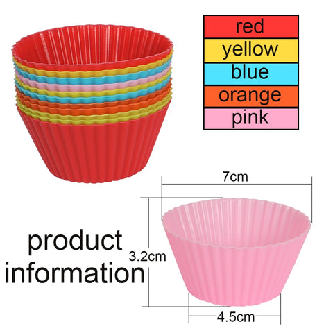 Colorful Plastic Round Shaped Silicon 12 Pieces/Set  Cake Baking Moulds
