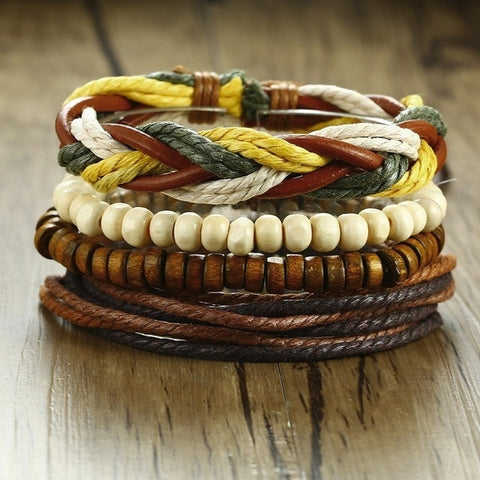 Vintage Leather Wooden Beads Ethnic Braided Wrap Bracelets For Unisex