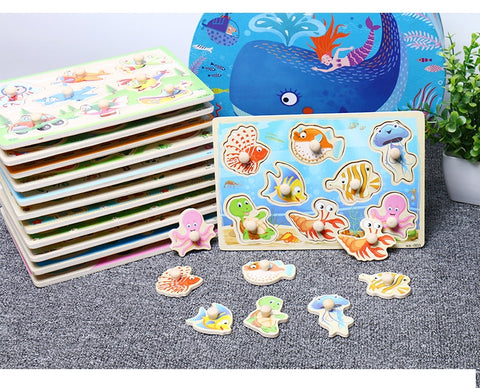 Montessori Vehicle Marine  Wooden Jigsaw Board Puzzle Toy for Kids