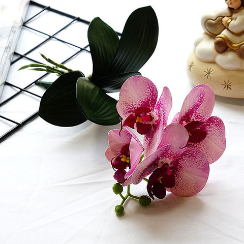 Butterfly Mini Orchid 4Heads/ Branch With Stem Leaves For Home Wedding Decoration