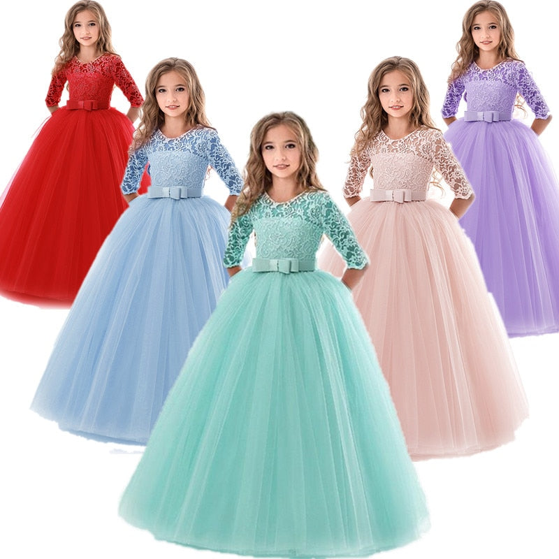 Girls Half Sleeve O-Neck Mesh Lace Ankle-Length Party Ball Gown Dress