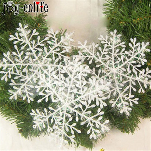 White Plastic Hanging Pendants 4/30pcs Fake Snowflake For Christmas Party