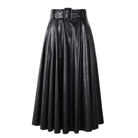 Black PU Faux Leather High Waist A-line Women Mid-calf Long Skirts With Belt