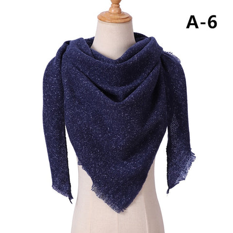 Winter Plaid Triangle Shape Cashmere Scarf Shawl For Women