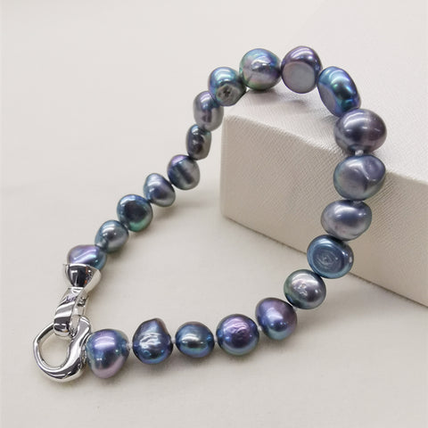 Natural Freshwater Pearl Oval Shape Women Chain Bracelet