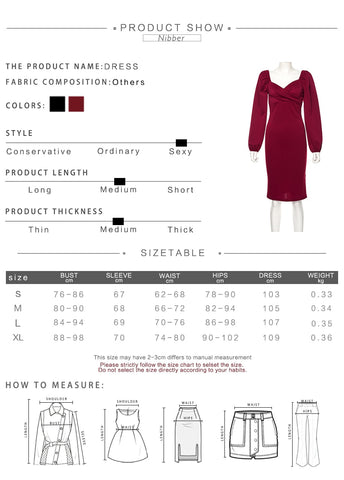 Winter Lantern Long Sleeve V-Neck Women Casual Party Mid-Calf Dress