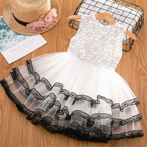 Summer Sleeveless O-Neck Lace And Ball Design Baby Girls Party Dress