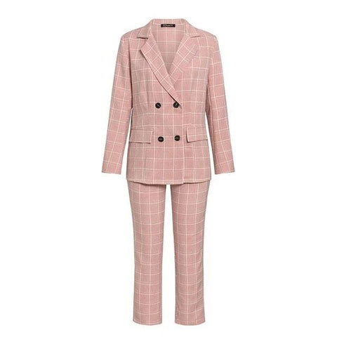 Fashion Long Sleeve Double Breasted Blazer Pants Set For Women