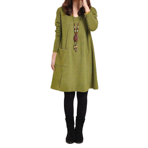 Winter Long Sleeve V-Neck Women Vintage Loose Casual Midi Dress