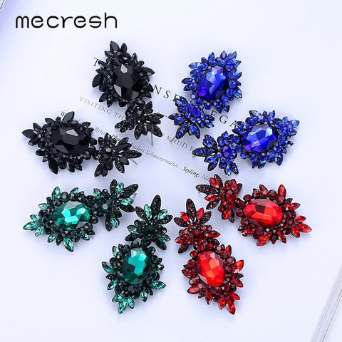 Plant Shape Cute Crystal Rhinestone Women Drop Earrings