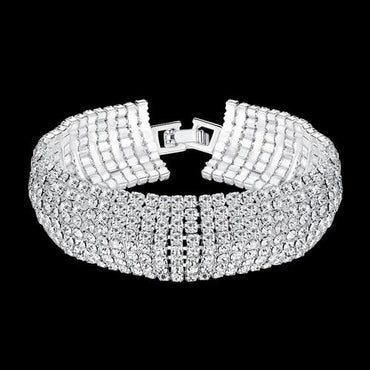 White Rhinestone African Bridesmaid Crystal Bracelets For Women