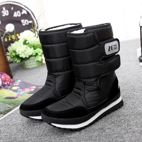 Winter Waterproof Nylon Velvet Warm Hook & Loop Women Mid-calf Boots Shoes