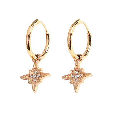 Gold Cartilage Star Moon Hoop Earring For Women