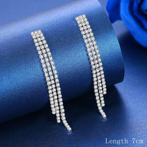 Silver Crystal Rhinestone Long Tassel Drop Earrings For Women
