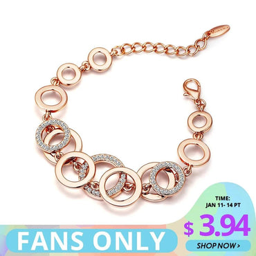 Rhinestones Paved Double Layer Round Bracelet & Bangles For Women