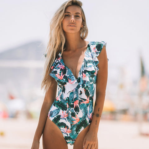 Women Deep V-Neck Sleeveless Ruffle Backless Short One Piece Swimsuit