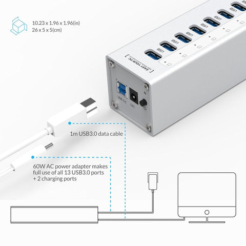 Aluminum 13 Ports Multi USB 3.0 HUB Splitter with 2 Charging Ports