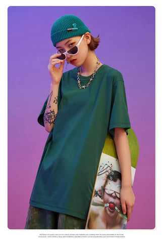 Summer Short Sleeve O-Neck Women Cotton Streetwear Loose T-shirt Tops