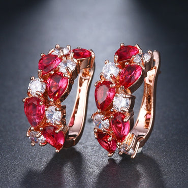 Luxury CZ Zircon Rose Gold Color Flash Earrings for Women