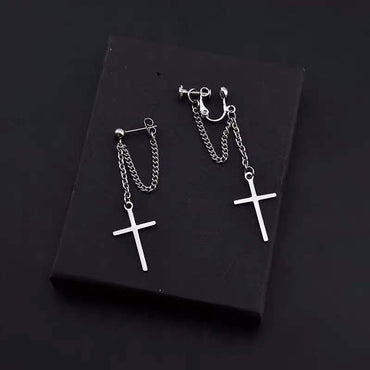 Harajuku Cool Cross Chain Pendant Earrings For Women