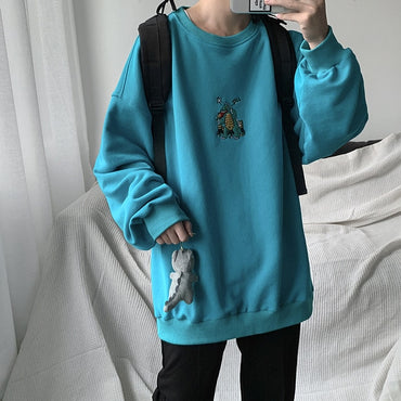 Autumn Dinosaur Embroidery Pullovers Sweatshirts Hoodies for Men
