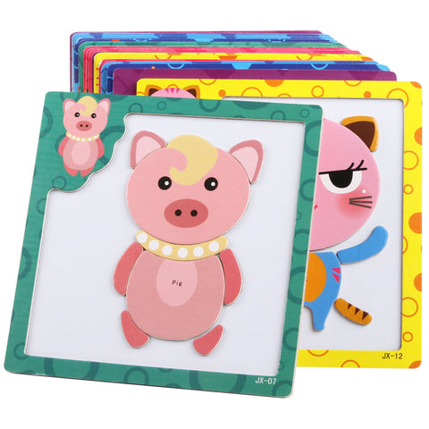 3D Magnetic Wooden Education Puzzle Toy for Kids