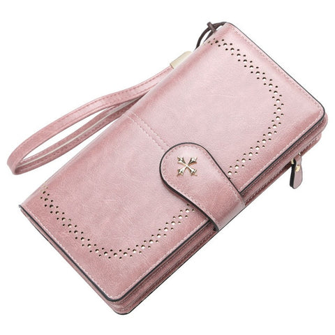 Engraving Hollow Out Long Card Holder Wallet For Women