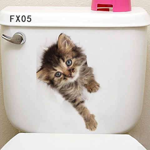 Animal Toilet Stickers Home Decoration Diy Cartoon Wall Art Decals