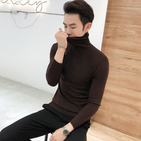 Knitted Casual Pulloves Solid Black Men Sweater