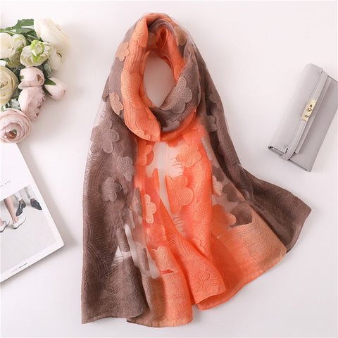 Summer flowers Color Matching Silk Scarf for Women
