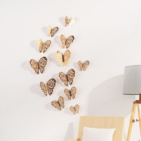 12 Pcs/Set Hollow Butterfly 3D Wall Stickers for Room Decoration