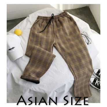 Black Plus Size Korean Plaid Casual Pants for Men