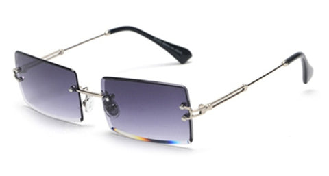 Small Rectangle Rimless Square Sun Glasses for Women