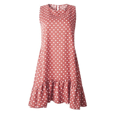 Spring Summer Street Casual Slim Thin O Neck Mini Polka Dot Dress for Women