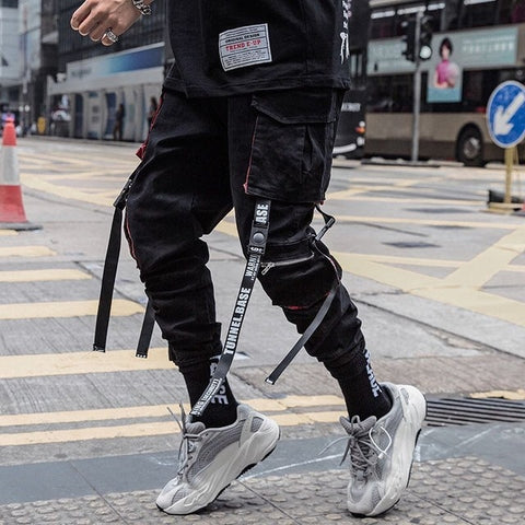 Fashion Hip Hop Black Cargo Joggers  Pant for Men