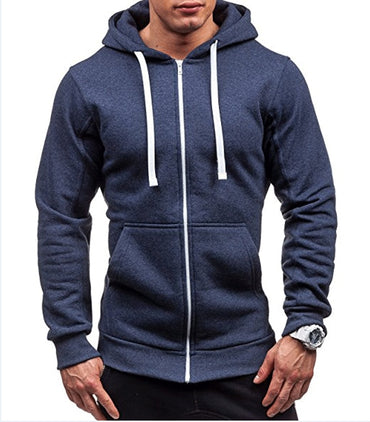 Solid Color Zipper Hoodies for Men