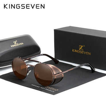 Retro Round Steampunk Vintage Sunglasses for Men