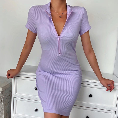 Stand Collar Zipper Deep V-neck Solid Stretch Bodycon Pencil Party Wear Dress for Women