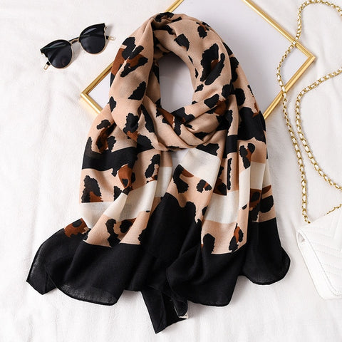 Print Cotton Foulard Bandana plaid Scarf Fashion for Women