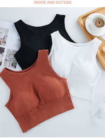 Solid Color Sleeveless Stretch Padded Crop Top For Women